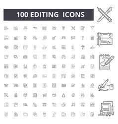 editing line icons signs set outline vector image