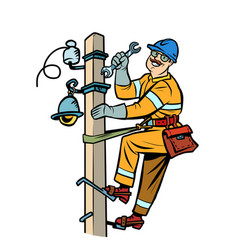 electrician on power pole vector image