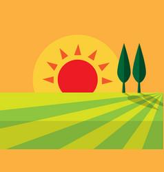 Evening farmland flat icon design sign symbol vector