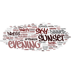 Evening word cloud concept vector