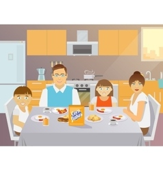 Family breakfast flat vector