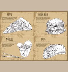 Fastfood pizza slice set vector