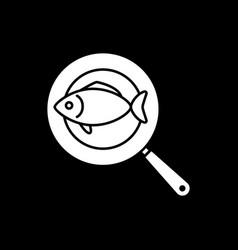 Fish on frying pan dark mode glyph icon vector