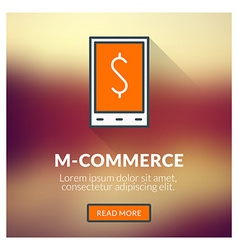 Flat design concept for M-commerce with blu vector image