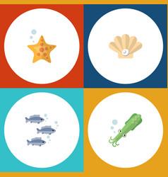 Flat icon sea set tuna sea star conch and vector