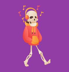 funny cartoon skeleton listened music in headphone vector image