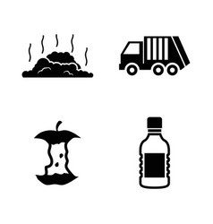 Garbage waste simple related icons vector