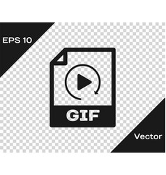 Grey gif file document icon download gif button vector