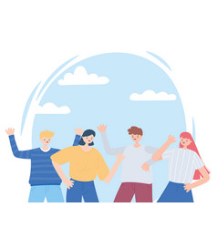 group young people celebrating characters cartoon vector image