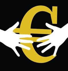 Hand held euro vector