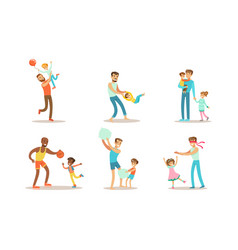 happy fathers playing having fun and enjoying vector image
