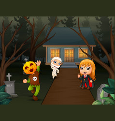 Happy kids wearing halloween costume on the page h vector