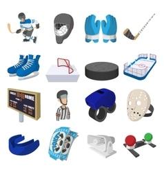 Hockey cartoon icons set vector image vector image