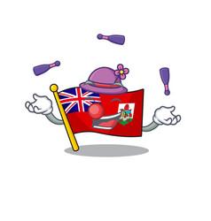 Juggling flag bermuda cartoon on pole vector