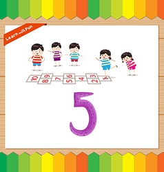 Kids playing with the number 5 vector