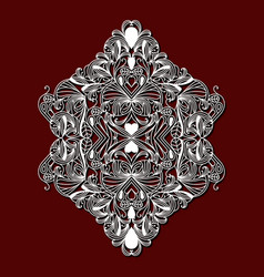 laser cutting ornamental floral design in dark red vector image