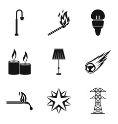 light source icons set simple style vector image