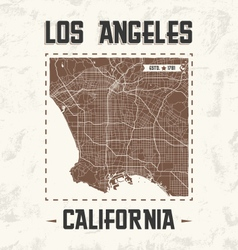los angeles vintage t shirt design with city map vector image vector image