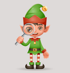 Magnifying glass search christmas elf boy santa vector