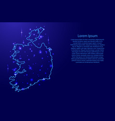 map ireland from the contours network blue vector image