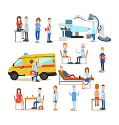 medical staff flat icon set vector image