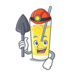 Miner lemonade mascot cartoon style vector