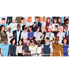 mix race people crowd different occupation vector image