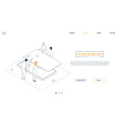 mobile repair service - line design style vector image