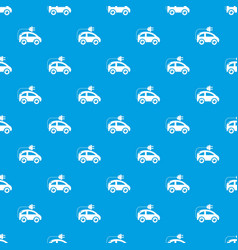 Modern electric car pattern seamless blue vector