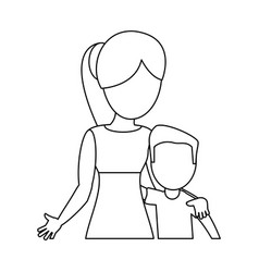 Mother hugging son lovely outline vector