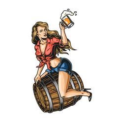 Pin up girl on beer wooden barrel vector