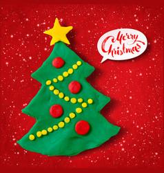 Plasticine of christmas tree vector