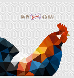 polygonal style rooster on white chinese vector image