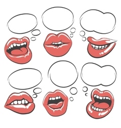 Pop art lips with speech bubble vector image