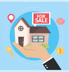 Real state house for sale in the businessman hand vector