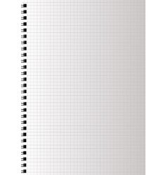 Realistic blank squared notebook paper vector image
