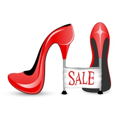 Red shoe with high heels vector image