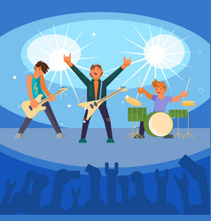 Rock band concert flat vector