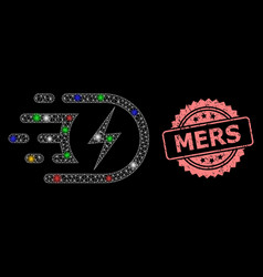 Scratched mers stamp seal and mesh electric vector