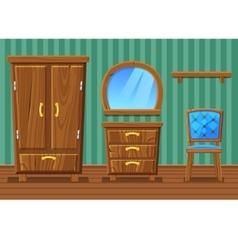 Set cartoon funny wooden furniture Living room vector