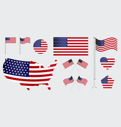set of american flag clip art vector image