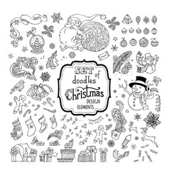 Set of doodles christmas signs symbols vector