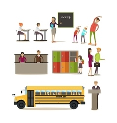 Set of school characters design elements vector