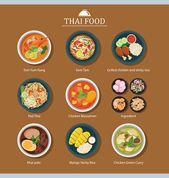 set of thai food vector image