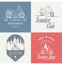 Set vintage sign and logos scooter vector