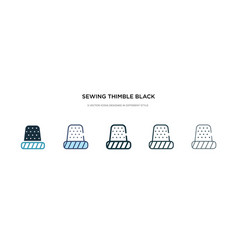 Sewing thimble black variant icon in different vector