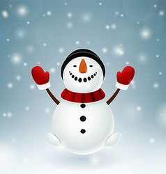 Smiley snowman with red mittens vector