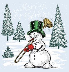 Snowman trumpeter in christmas time vector