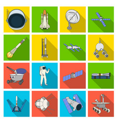 Space ship lunokhod spacesuit and other vector