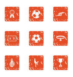 Sport clubhouse icons set grunge style vector